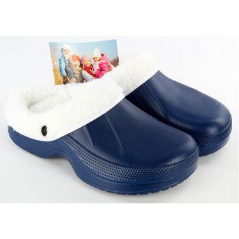 28-840338, Schuhe Clogs mit Fell, mit Winterfutter oder Warmfutter, Strandschuh, Badeschuh, Saunaschuh, Freizeitschuh