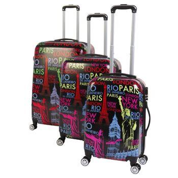3-tlg. Reisekofferset Kofferset Trolley Reisekoffer Koffer Hartschale weiß oder schwarz