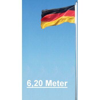 Alu-Fahnenmast Aluminiumfahnenmast mit Deutschlandfahne 6,20 Meter Alumast