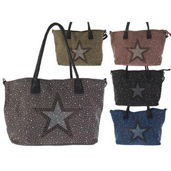 Schönheit Bestbewertet echt unverwechselbarer Stil Damen Taschen Glitzer Nieten Stern Canvas Handtasche Schultertasche  Umhängetasche Shopper - 14,90 Euro