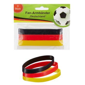 17-200814, Armbänder 3er Set Deutschland, BRD Farben, Fanmile, Stadion, Event, usw.