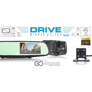 GoClever Einparkhilfe HD Rückspiegel Dashcam mit G-Sensor, Display & Rückfahrkamera Autokamera Kamera Cam Parken Parkhilfe Rückfahrwarner Rückfahrhilfe Auto KfZ Wohnmobil Spiegel Monitor