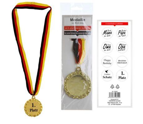 17-90862, Sieger Medaille mit Sprüchen mit Deutschlandband, BRD Farben, Karneval, Fasching, Party, Event, usw