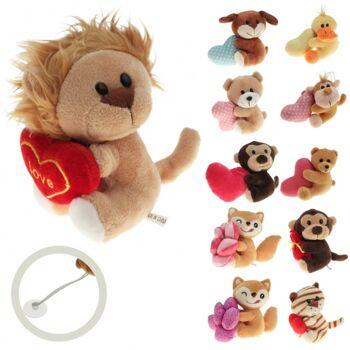 10-150020, Plüsch Sortiment, 10 cm, mit Herz oder Geschenk, Zootiere, Wildtiere, Plüschtiere, usw