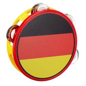 17-29741, Tamburin Deutschland mit 4 Schellen, für Fanmile, Stadion, Party, Event, usw.