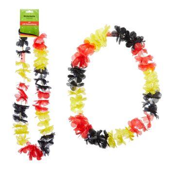 17-29764, LED Blütenkette Deutschland mit LED Licht, BRD Farben, Hawaikette, Blumenkette, Party, Event, usw.