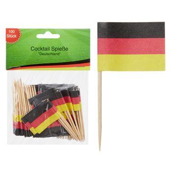 17-29856, Holz Cocktail Spieße Deutschland 100er Pack, Fahne, BRD Farben, Flagge, Partyspieß, Event, usw