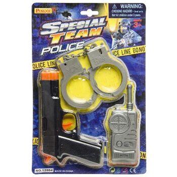 21-2103, Polizei Set mehrteilig, Pistole, Handschellen, Funkgerät, Aktionset, Agentenset