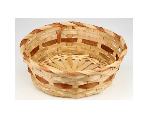 27-027603, Bambuskorb 20 cm D,  naturfarben, Osterkorb, Brotkorb, Obstkorb, Brotkörbchen, usw