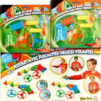 28-924045, Spielzeugpistole 2 in 1, für Flugkreisel/Propeller, Abschußpistole mit 2 Softdartgeschossen und 2 Propellern