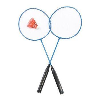 21-5552, Badminton Set 3-teilig, 2 Schläger 1 Federball, Ferderballspiel
