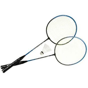 21-5554, Badminton Set in Tasche, 3-teilig, 2 Schläger 1 Federball, Ferderballspiel
