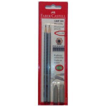 12-280396, FABER CASTELL Bleistifte 2er Set Grip 2001 HB mit Gummitip