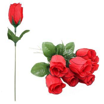 27-10189, Rosenknospen 17 cm -rot, Kunstblume Rose, Seidenblüten+++++++