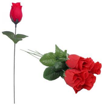 27-10651, Rosenknospe 27 cm, nur ROT, Rose, Kunstblume, Seidenblüten