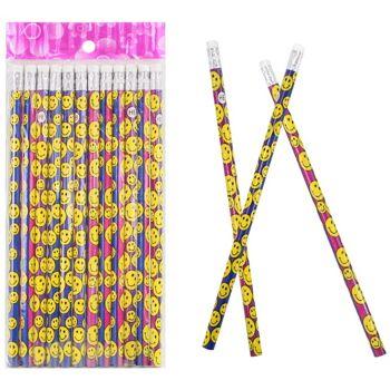 27-40076, Bleistift mit Lachgesicht, mit Radiergummi