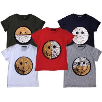 Kinder Jungen Mädchen T-Shirt Smiley Wende Pailletten Glitzer Shirt Shirts Oberteil Kurzarm Kindershirts Oberteil Unisex - 5,90 Euro