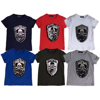 Kinder Jungen Mädchen T-Shirt Totenkopf Pirat Wappen Wende Pailletten Glitzer Shirt Shirts Oberteil Kurzarm Kindershirts Oberteil Unisex - 5