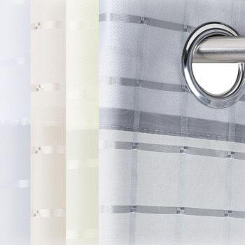 Ösenvorhang Gardine Fensterschal Dekoschal transparent 140x245cm karo