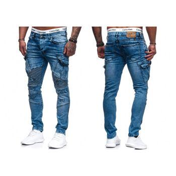 Modische Herren Jeanshose Vintage Destroyed-Look Cargohose Slim-Fit Hosen Jeans Denim Washed - 15,90 Euro
