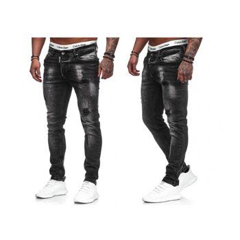 Modische Herren Jeanshose Vintage Destroyed-Look Slim-Fit Hosen Jeans Denim Washed - 15,90 Euro