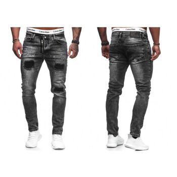 Modische Herren Jeanshose Vintage Destroyed-Look Slim-Fit Hosen Jeans Denim Washed - 15,90 Euro