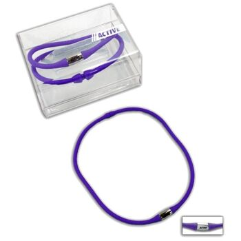 27-43234, Halskette Silikon Farbe violett Silikon und Edelstahl, TRENDSCHMUCK, Modeschmuck