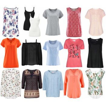 Damen Bekleidung Mischpaket - T-Shirts, Tops, Tuniken, Blusen, Hosen, Leggings, Kleider, Jeans...