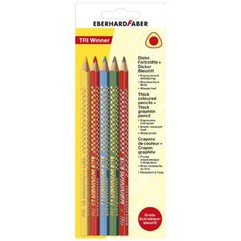 12-518197, EBERHARD FABER Jumbo Buntstift 4er Pack + 1 Jumbo Bleistift ergonomisch