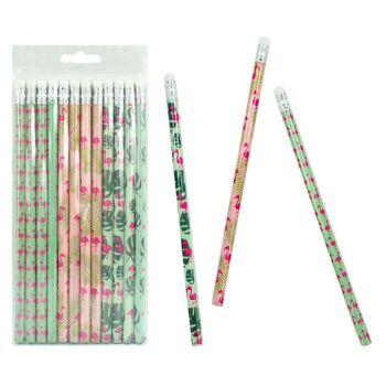 27-80362, Bleistift mit Radiergummi Flamingo Motiv