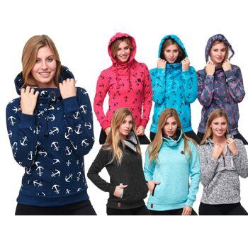 Damen Pullover Hoodie Pulli Langarm Sweater mit Anker Print Meliert Uni Alloverprint Maritim Mix - 6,90 Euro