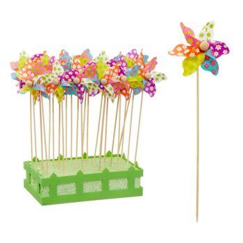 17-43709, Holz Pflanzstecker 28 cm Windrad, Blume, Pflanzenstecker, Gartenstecker, Beetstecker
