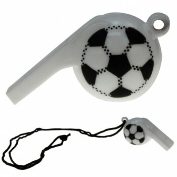 10-570610, Trillerpfeife 6,5 cm, weiss, Fussball Design, mit Halsband, Party, Event, Stadion Publicviewing Fanmile, usw