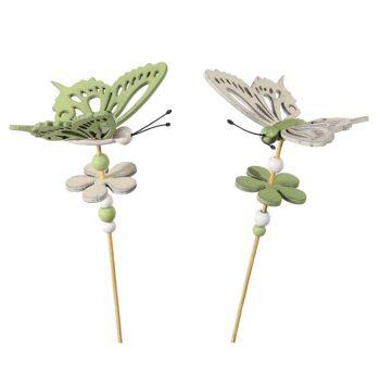 17-72301, Holz Deko Stecker Schmetterling, 32 cm, GArtenstecker, Beetstecker, Blumenstecker, Pflanzenstecker