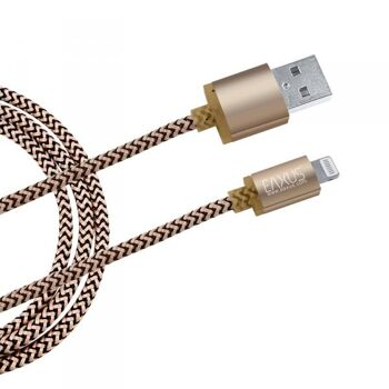 1m 8pin USB Daten- Ladekabel Gold iPhone 5, 6, 7+ iPad, iPod Anti-Bruch Eaxus