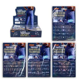 27-42984, Rubbelbilder 4er Set für Jeans, Taschen, Schuhe usw