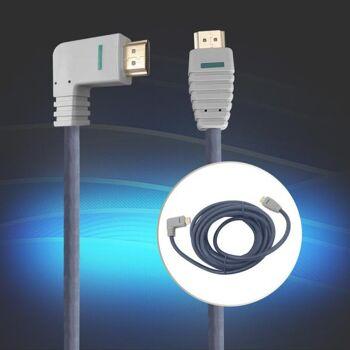 HDMI Kabel HighSpeed, 5m, rechts gewinkelt, 24K Gold, 4K und 3D-fähig Bandridge