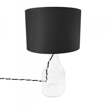 Tischlampe Hanna mit Glasfuß, schwarzer Schirm, E27, 40W, IP20, 230V Kenwell