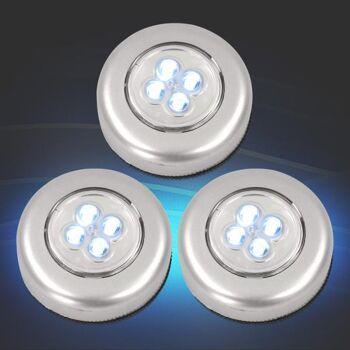 Universal LED Touch Light 3er-Set Schrankleuchte mit je 4 LEDs Eaxus