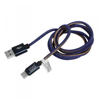 USB-C Lade- und Datenkabel 1m Anti-Bruch mit Jeans Design Eaxus