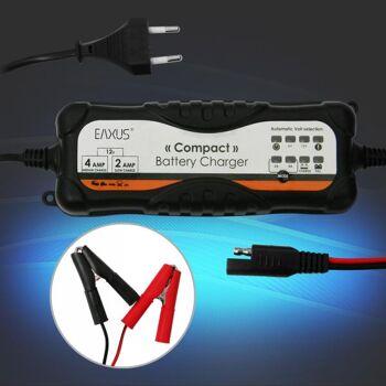 Vollautomatisches Autobatterie Ladegerät für 6V und 12V Blei und Gel Eaxus