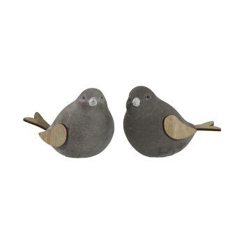 17-61820, Dekofigur Vogel aus Zement, mit Holzflügel und Holzschwanz