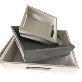 17-69948, Holz Tablett 3er Set