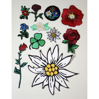 Set 11 x Aufnaeher Set Blumen Edelweiss Enzian Mohn Klee