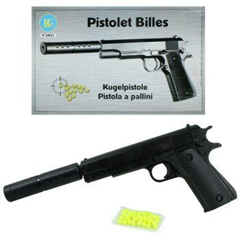 27-60076, Softair Pistole 29 cm, mit Verlängerungsrohr mit Bullet Munition, Kugelpistole