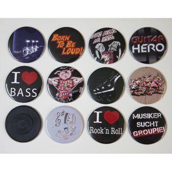 Set 12 x Magnet Button Magnete auch ROCK YOU© Music Motive