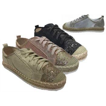 Damen Trend Sneaker Espadrilles Schnürschuh Glitzer Schuhe Schuh Shoes Freizeit Schuh nur 10,49 EUR