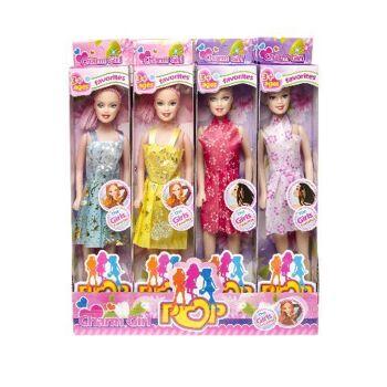 Puppe mit Kleid 28 cm, Modepuppe, Spielpuppe, Kopf und Arme beweglich