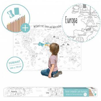 10-985820, XXL Weltkarte, Lernposter für Kinder zum ausmalen, inkl. Buntstifte, Anspitzer und Radiergummi, für kleine und grosse Entdecker