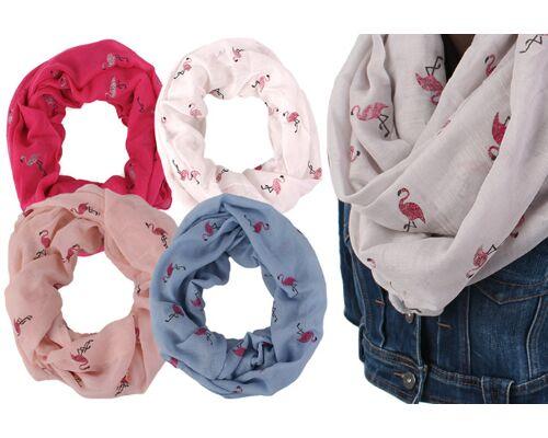 Damen Loop Sommer Schals Design Flamingo Halstücher Stola Tücher Bunt Schal - 3,90 Euro